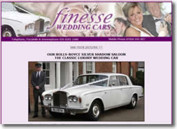 Finesse wedding cars Bexleyheath website by deliberate design, Dover, Thanet Dartford